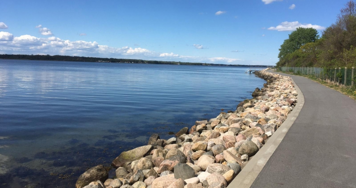 Vor dem Haus der Ferienwohnung Fiedler geht direkt ein Weg am Ufer der Innenförde entlang.