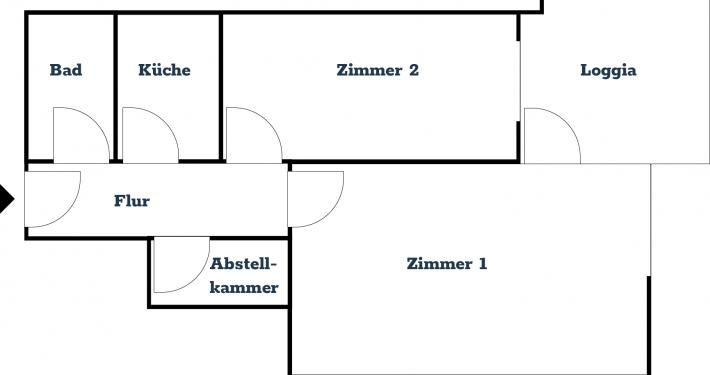 Der gezeichnete Grundriss der 45qm großen Ferienwohnung Fiedler in Glücksburg.